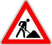 Baustelle Arbeiter 630mmSL Gefahrzeichen 123