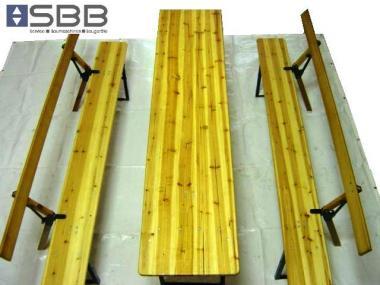 Festzeltgarnitur / Party Sitzgarnitur Holz mit Rückenlehnen