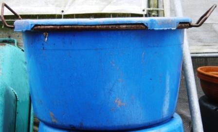 Kübel 90l rund blau kranbar + 2 Ösen